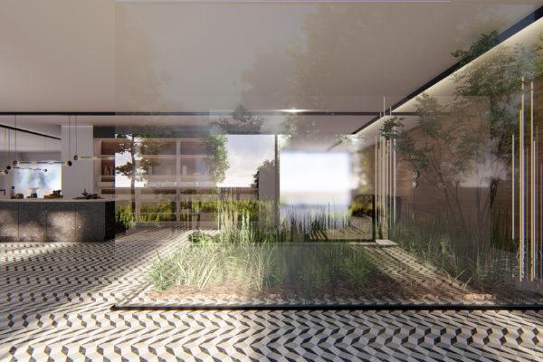 Kitchen schwarz-weiß 3d Konzept, produkt Design und Produkt Visualisierung
