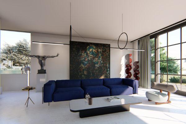 Wohnzimmer Visualisierung mit Sofa und Sessel, Einrichtungskonzept, Innenarchitektur 3d rendering